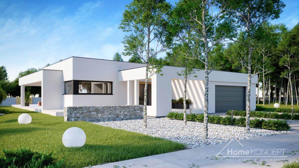 Dom parterowy z płaskim dachem - HomeKONCEPT 73